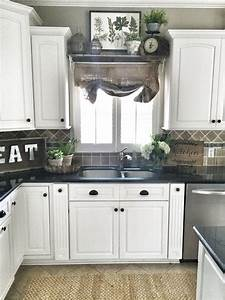 farmhouse kitchen decor shelf over sink in kitchen diy With kitchen colors with white cabinets with large metal wall art for sale