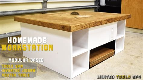 Homemade Table Saw 4 in 1 Modular Workstation   YouTube