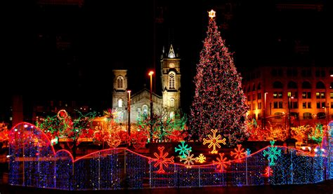christmas lights in ohio old stone church and cleveland public square on christmas