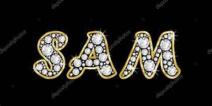 The name Sam spelled in bling diamonds, with shiny ...