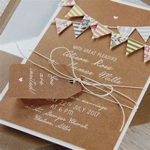 hand made summer rustic 3d bunting wedding day invitation With 3d rustic wedding invitations