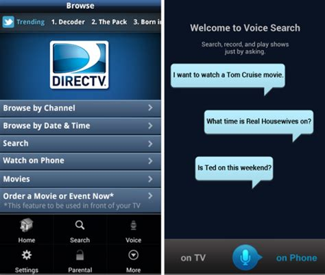 directv android app updated  version  enables voice