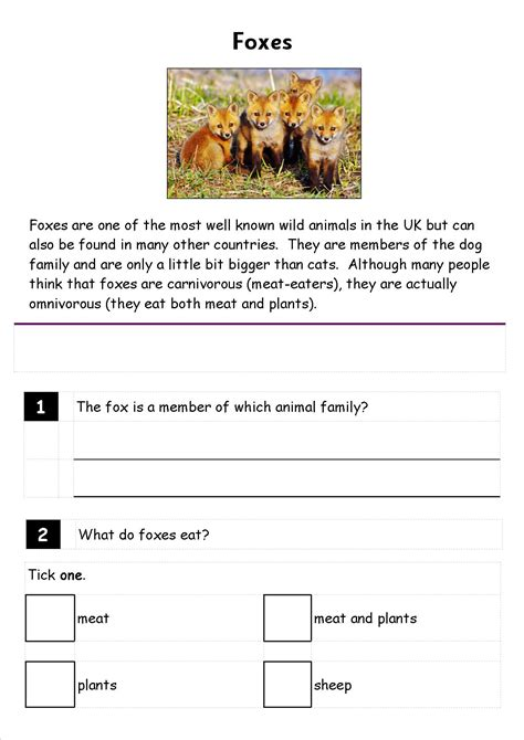 comprehension year 2 kidz activities
