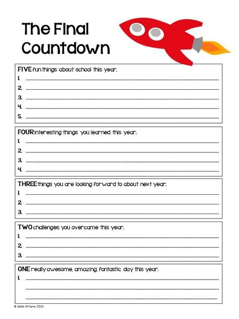 end of the year review activity for any subject freebies