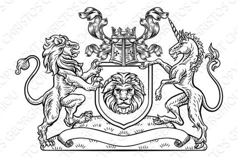 Lion And Unicorn Shield Heraldic Coat Of Arms. Tattoo