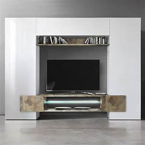 Meuble Tv Blanc Laqué Et Bois : meuble mural tv blanc laqu et bois sofamobili ~ Teatrodelosmanantiales.com Idées de Décoration