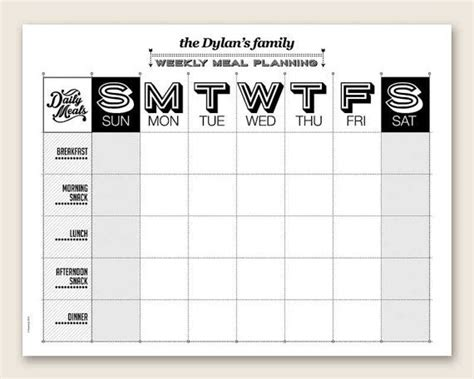 printable weekly meal planner editable  organizing
