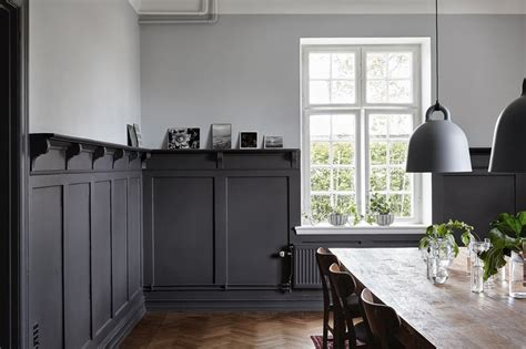 Swedish Country House Dining Room, Black Lower Wood Panels