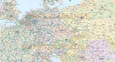 central europe political country vector map  roads