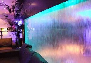 Unique Indoor Fountain With Cool Lighting Fixtures For