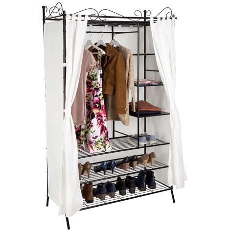 armoire de rangement avec rideau penderie de v 234 tement cadre en m 233 tal beige noir ebay