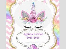 Agenda escolar 2018 de unicornio para imprimir gratis