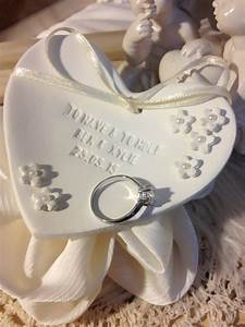 Petite fleur personalized wedding ring bearer bowl clay for Personalized wedding rings