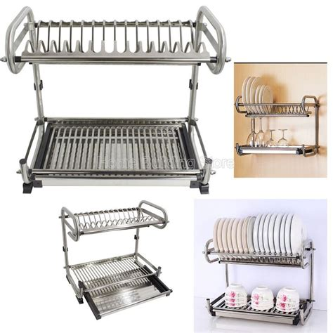 kitchen dish rack ideas wall mounted stainless steel dish drying rack cosmecol