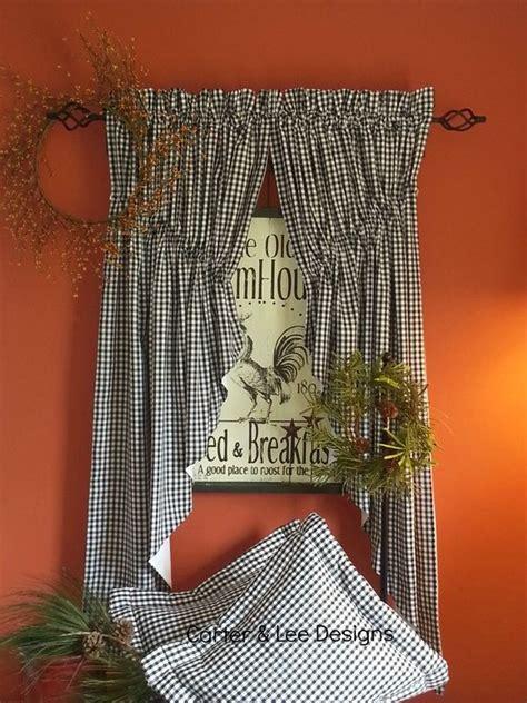 gathered   homespun lined prairie swag curtains