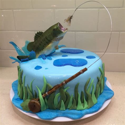 fly fishing cake   hubby bass jumping   water