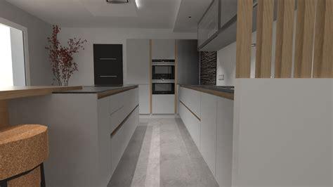 cuisine blanche plan de travail gris cuisine design gris clair et bois avec grand îlot et