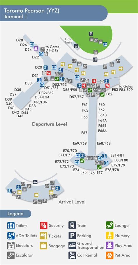 Pearson Airport Toronto Terminal  Map