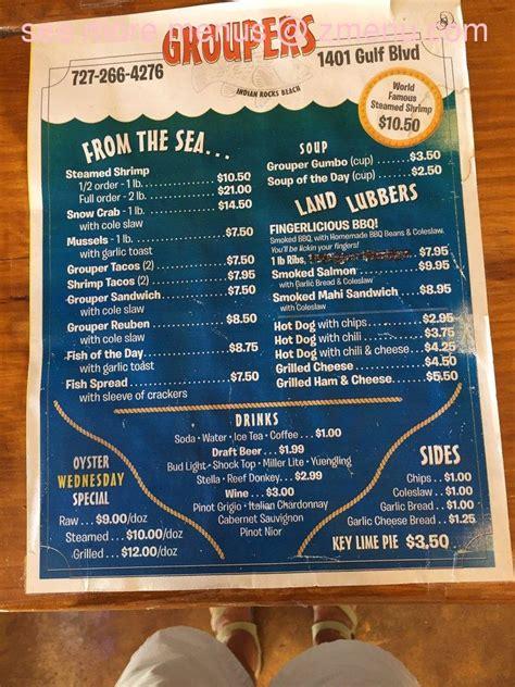 groupers menu rocks indian beach zmenu florida restaurant issue any report