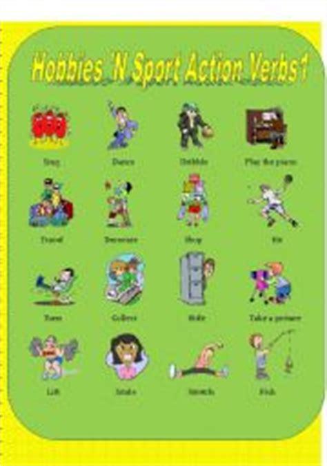 hobbies  sports action verbs   esl worksheet