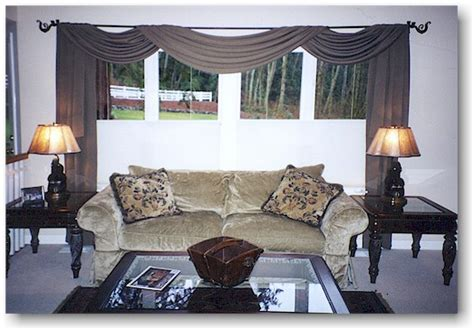 Swag Window Curtains for Large Living Room