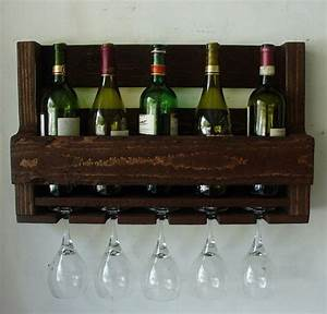 Simply Rustic 6 Bottle Wall Mount Wine Rack With 4 Glass