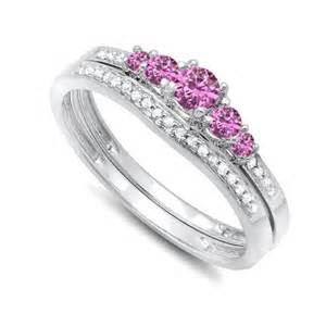 sapphire wedding ring sets half carat pink sapphire and wedding ring set in white gold on sale jewelocean