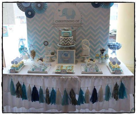 blue christening decorations chevron and blue elephant baptism ideas photo 1 of