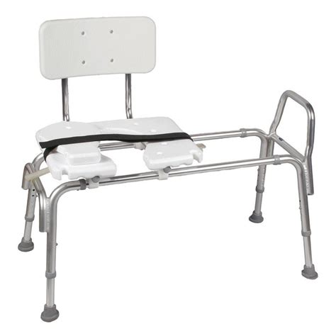 dmi heavy duty sliding transfer bench with cut out seat