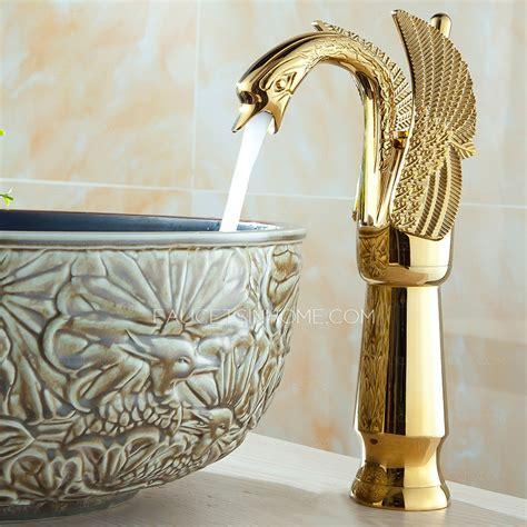 kitchen faucets copper luxury gold swan design vessel bathroom sink faucet