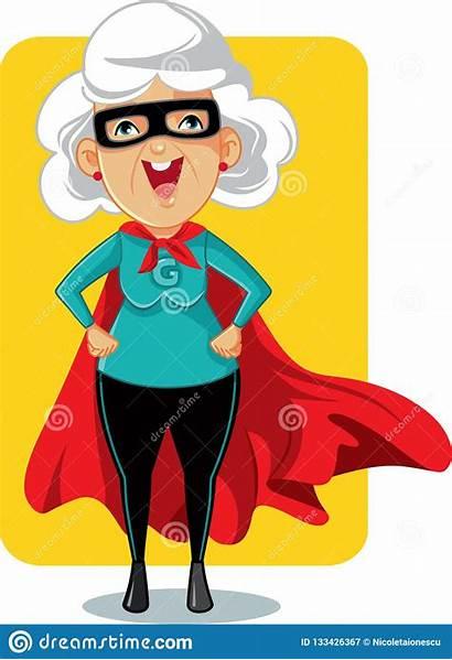 Clipart Granny Cartoon Superhero Strong Woman Vektor
