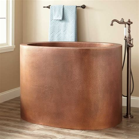 raksha hammered copper japanese soaking tub bathroom