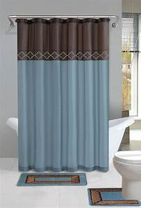 brown blue modern shower curtain 15 pcs bath rug mat With bathroom shower curtain and rug set