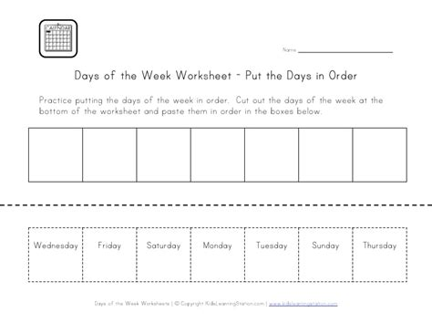 days   week worksheets