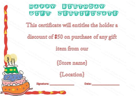 colorful cake birthday gift certificate template