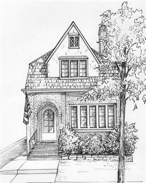 Haus Gezeichnet In Tusche 8 X 10 Architektonische Etsy