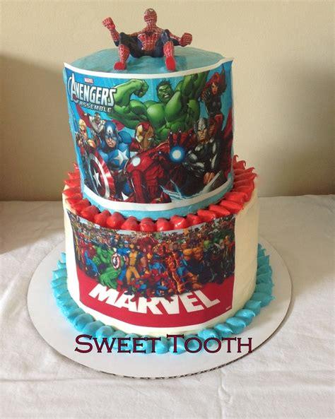 simple  tier super hero cake  edible images