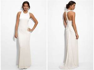 matte jersey column wedding dress with beaded back With jersey wedding dress