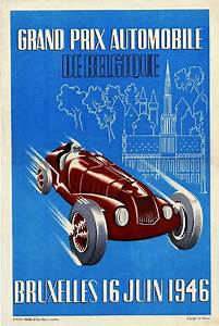 Grand Prix Automobile : 1946 bruxelles grand prix automobile race car advertisement vintage art poster ebay ~ Medecine-chirurgie-esthetiques.com Avis de Voitures