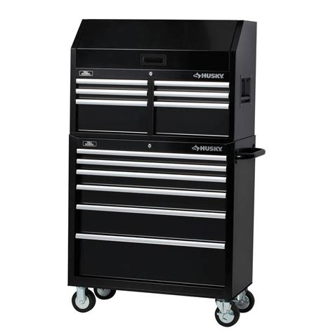 husky 36 in 12 drawer tool chest and cabinet set black h36ch6 h36tr6 the home depot