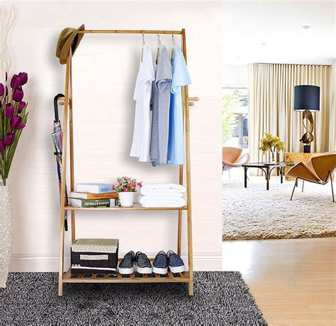 Wooden Wardrobe With Shelves by Wooden Clothes Rail Hallway Open Wardrobe Stand Storage