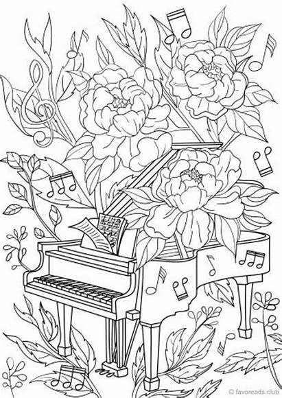 Coloring Piano Pages Adult Adults Printable Colouring