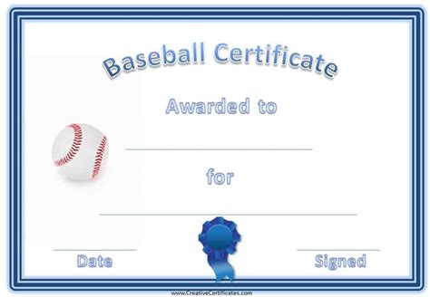 editable baseball certificates customize