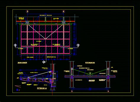 steel canopy detail  tempered glass dwg detail  autocad designs cad