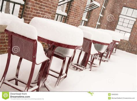 snow covered furniture stock photos image 30692903