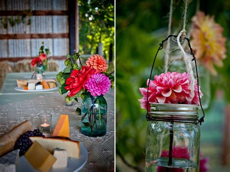 diy wedding flower centerpiece  colorful daisies