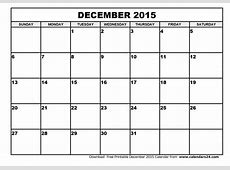 December 2015 Calendar & January 2015 Calendar