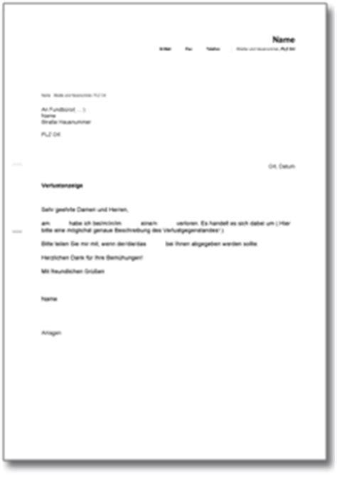 Nicht Vergessen Antraege Und Anzeigen Bei Behoerden by Verlustanzeige De Musterbrief