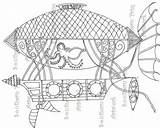 Steampunk Coloring Airship Adult Doodle sketch template