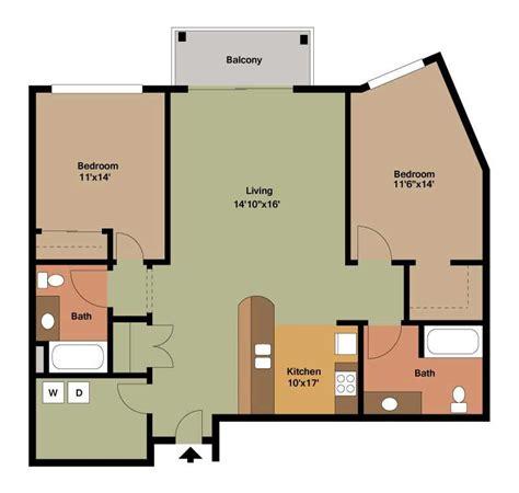 2 Bedroom Apartment Floor Plan by Floor Plan Style Y The Overlook On Prospect